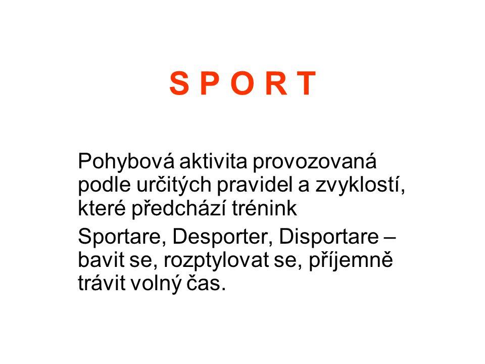 S P O R T Pohybová aktivita provozovaná podle určitých pravidel a zvyklostí, které předchází trénink.