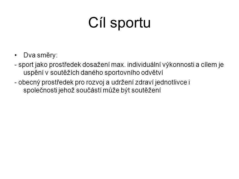 Cíl sportu Dva směry: - sport jako prostředek dosažení max. individuální výkonnosti a cílem je uspění v soutěžích daného sportovního odvětví.
