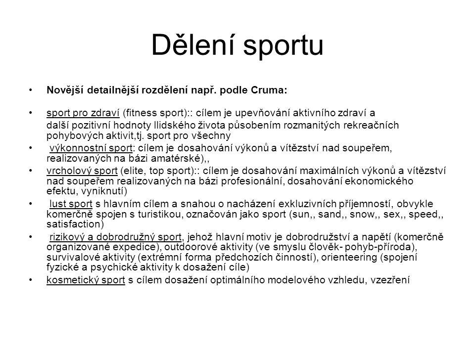 Dělení sportu Novější detailnější rozdělení např. podle Cruma: