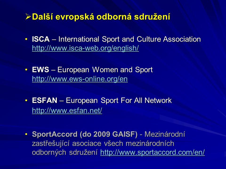 Další evropská odborná sdružení