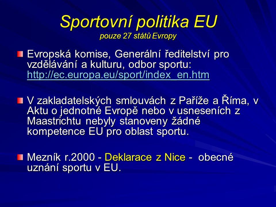 Sportovní politika EU pouze 27 států Evropy