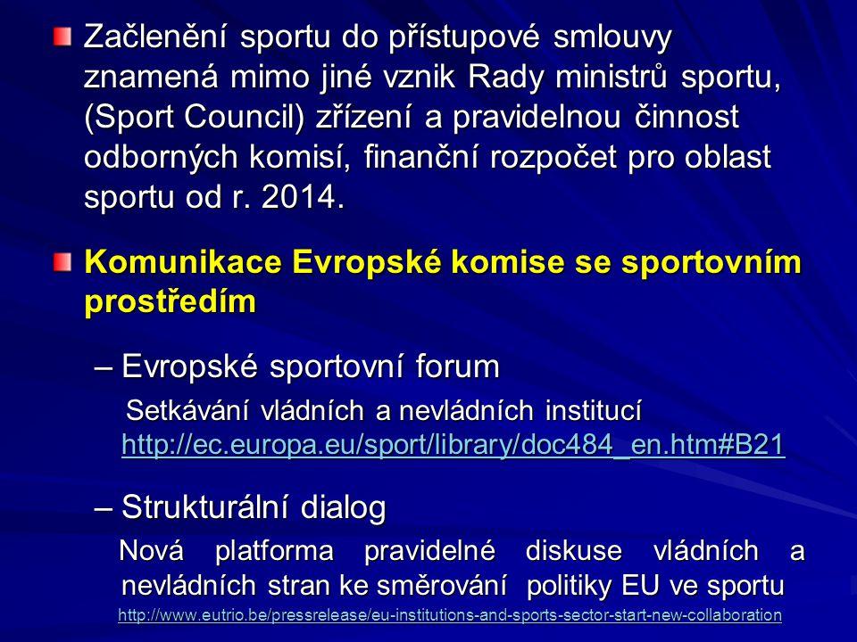 Komunikace Evropské komise se sportovním prostředím