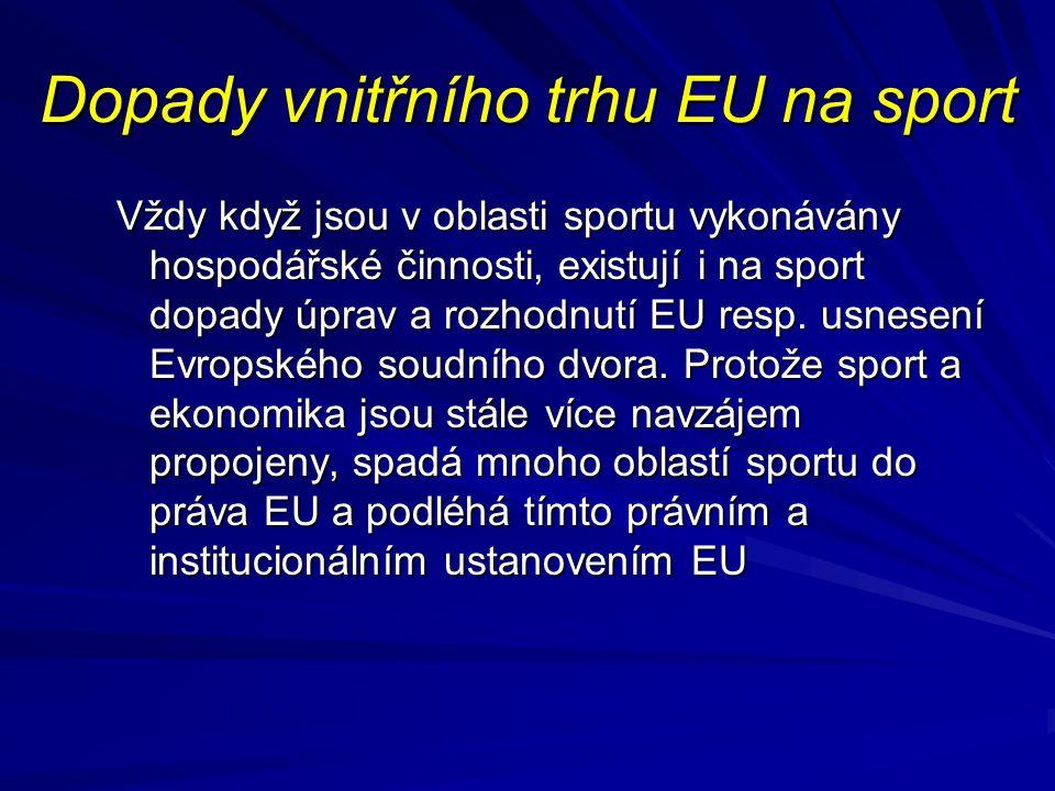 Dopady vnitřního trhu EU na sport
