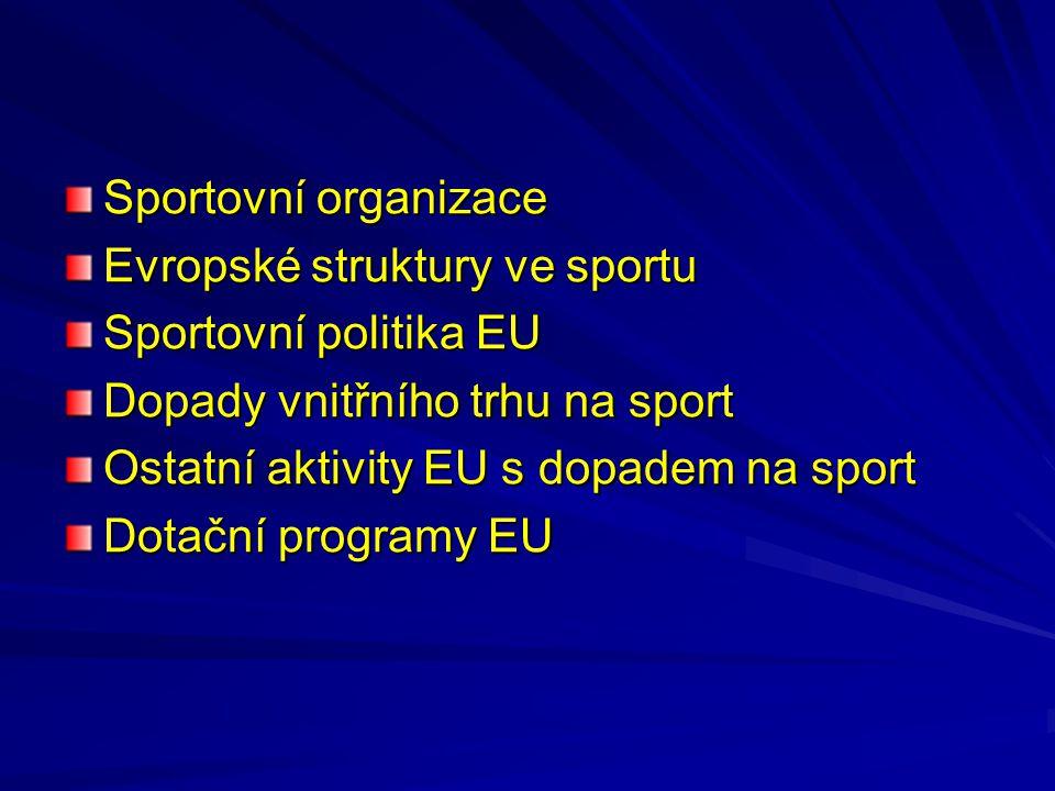 Sportovní organizace Evropské struktury ve sportu. Sportovní politika EU. Dopady vnitřního trhu na sport.