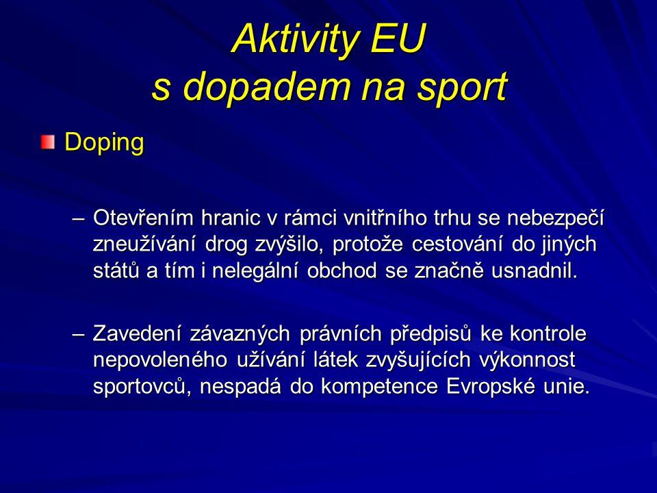 Aktivity EU s dopadem na sport