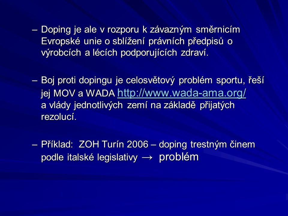 Doping je ale v rozporu k závazným směrnicím Evropské unie o sblížení právních předpisů o výrobcích a lécích podporujících zdraví.