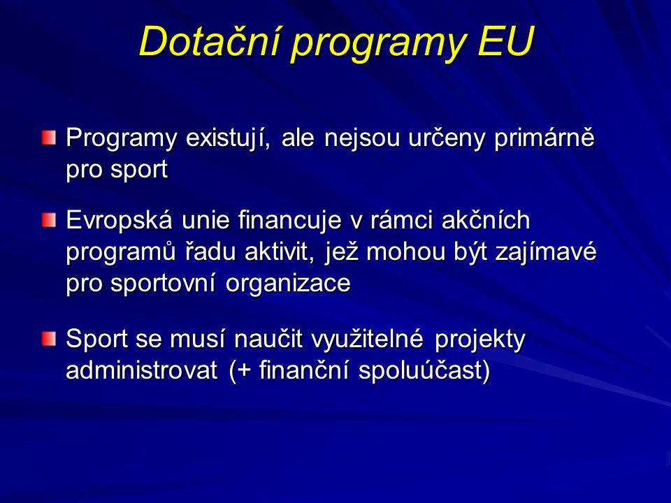 Dotační programy EU Programy existují, ale nejsou určeny primárně pro sport.