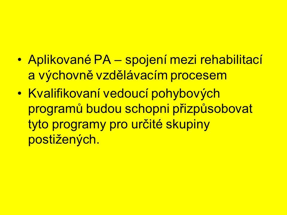 Aplikované PA – spojení mezi rehabilitací a výchovně vzdělávacím procesem