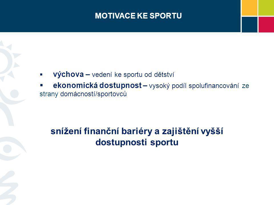 snížení finanční bariéry a zajištění vyšší dostupnosti sportu