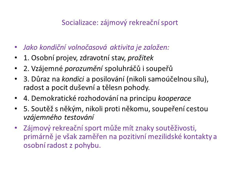 Socializace: zájmový rekreační sport