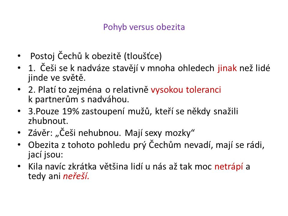 Postoj Čechů k obezitě (tloušťce)