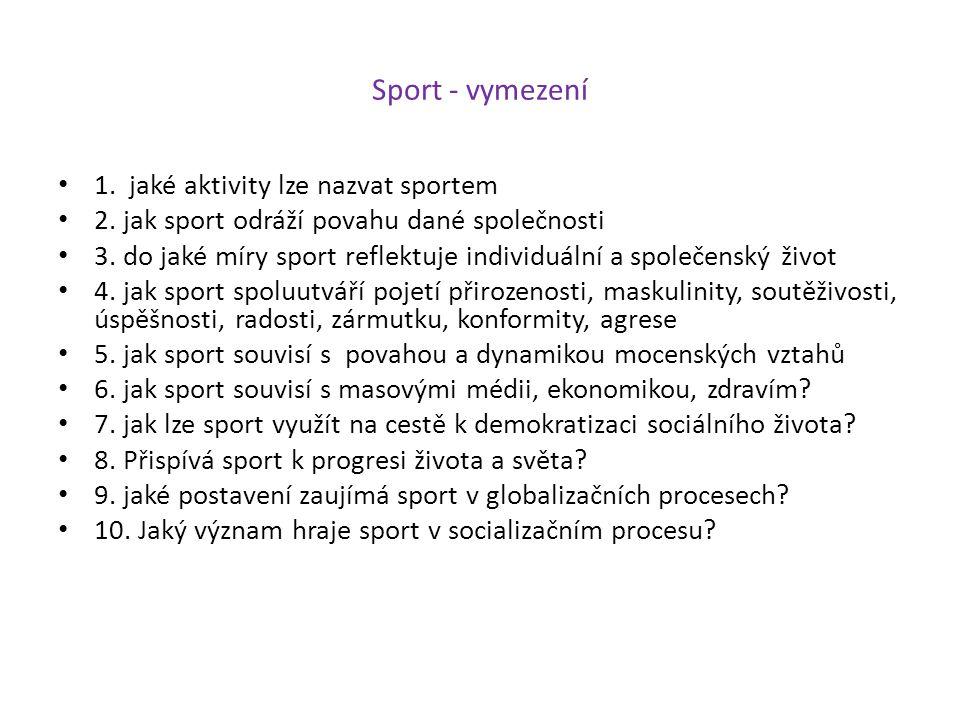 Sport - vymezení 1. jaké aktivity lze nazvat sportem