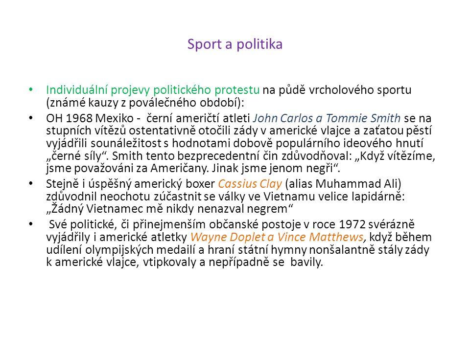 Sport a politika Individuální projevy politického protestu na půdě vrcholového sportu (známé kauzy z poválečného období):