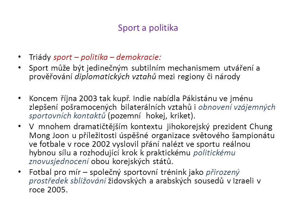 Sport a politika Triády sport – politika – demokracie: