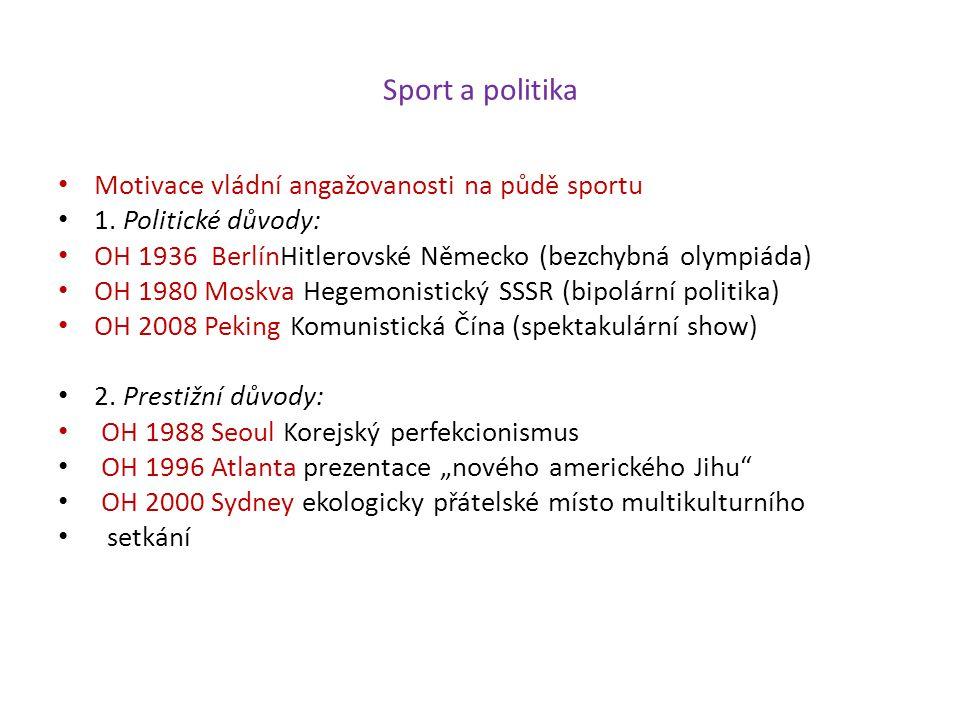 Sport a politika Motivace vládní angažovanosti na půdě sportu