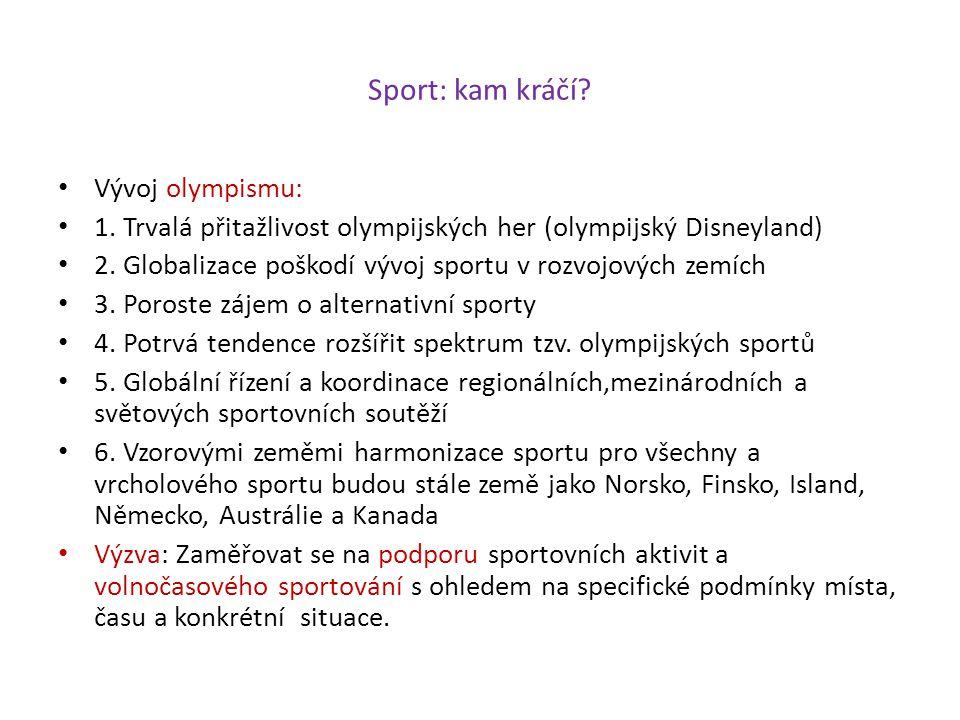 Sport: kam kráčí Vývoj olympismu:
