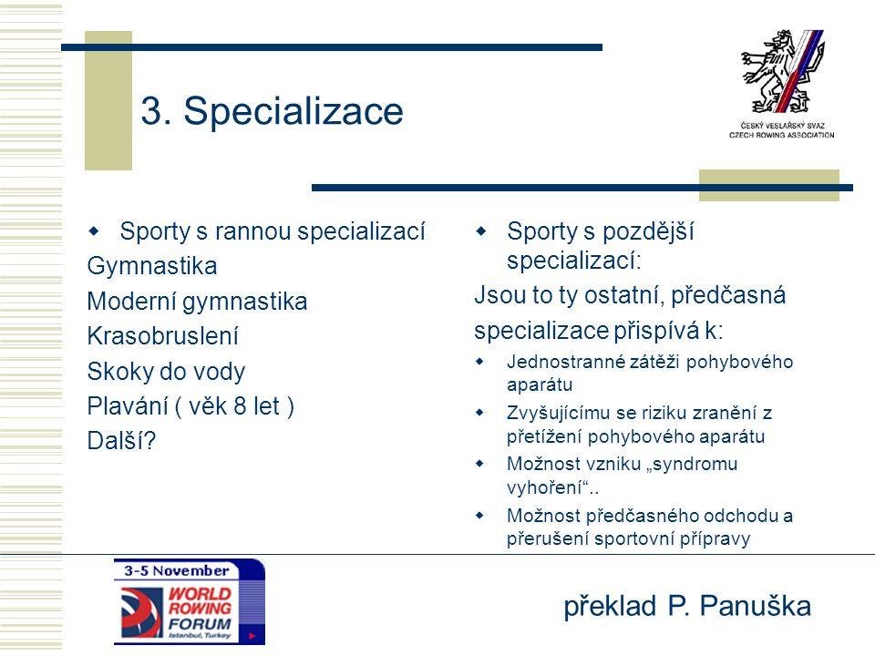 3. Specializace Sporty s rannou specializací Gymnastika
