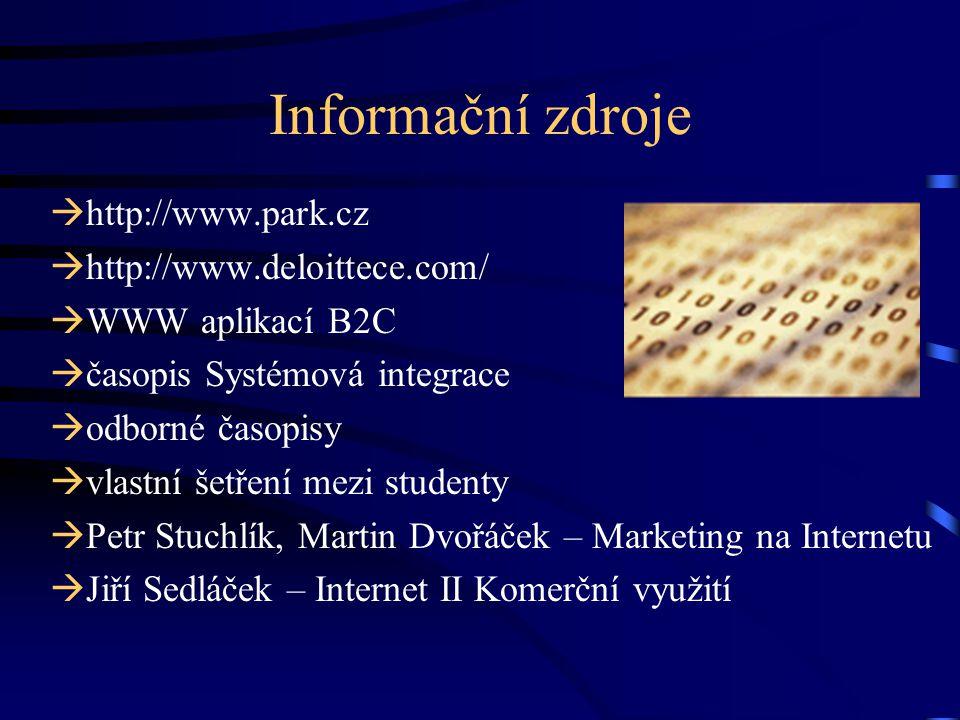 Informační zdroje http://www.park.cz http://www.deloittece.com/
