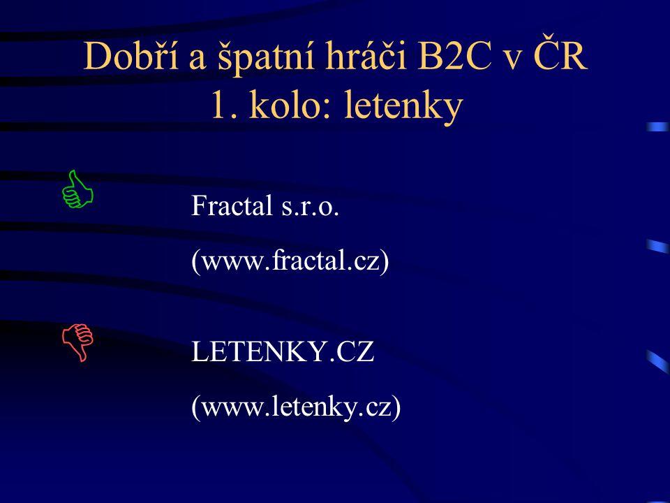 Dobří a špatní hráči B2C v ČR 1. kolo: letenky