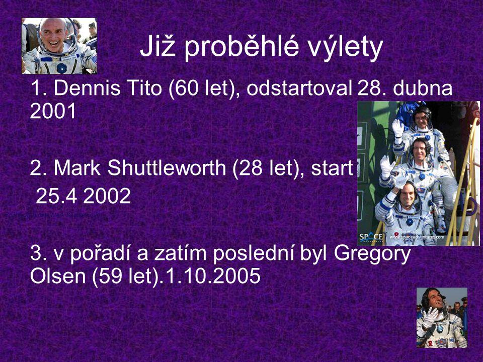 Již proběhlé výlety 1. Dennis Tito (60 let), odstartoval 28. dubna 2001. 2. Mark Shuttleworth (28 let), start.