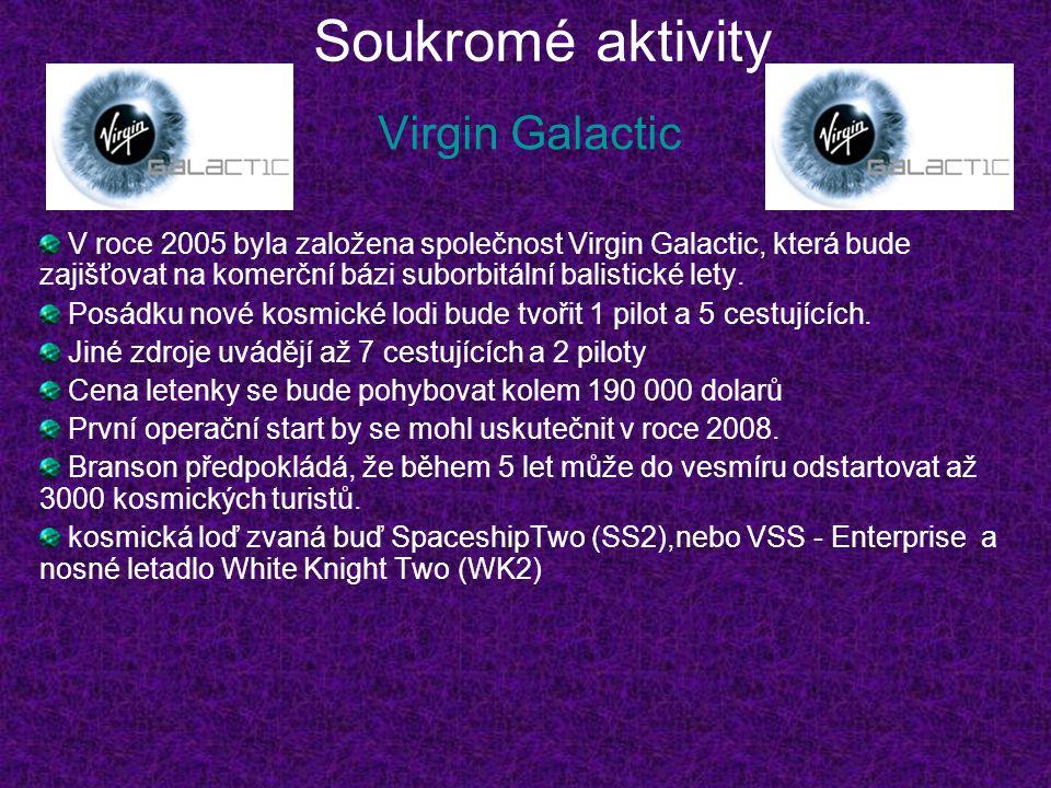 Soukromé aktivity Virgin Galactic