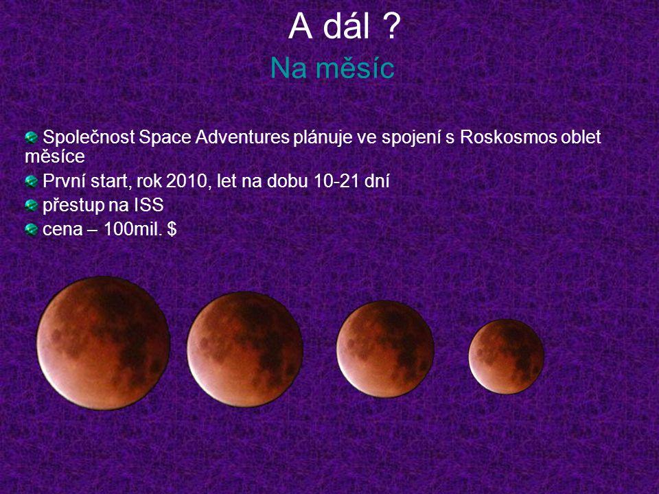 A dál Na měsíc. Společnost Space Adventures plánuje ve spojení s Roskosmos oblet měsíce. První start, rok 2010, let na dobu 10-21 dní.