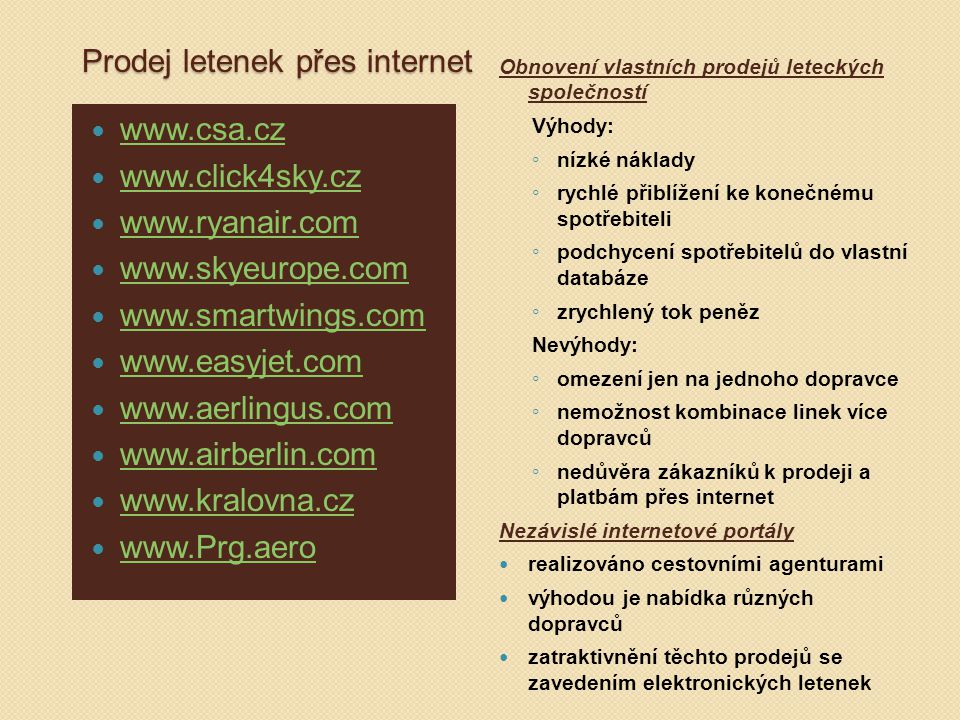 Prodej letenek přes internet
