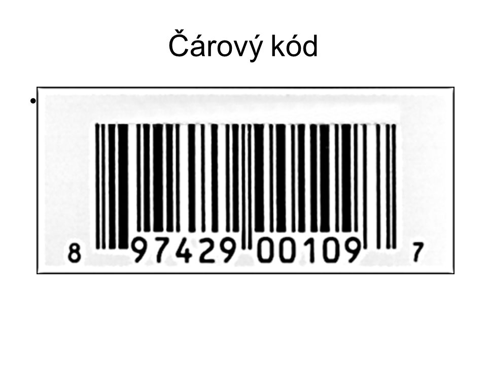 Čárový kód Čárový kód (Universal Product Code)