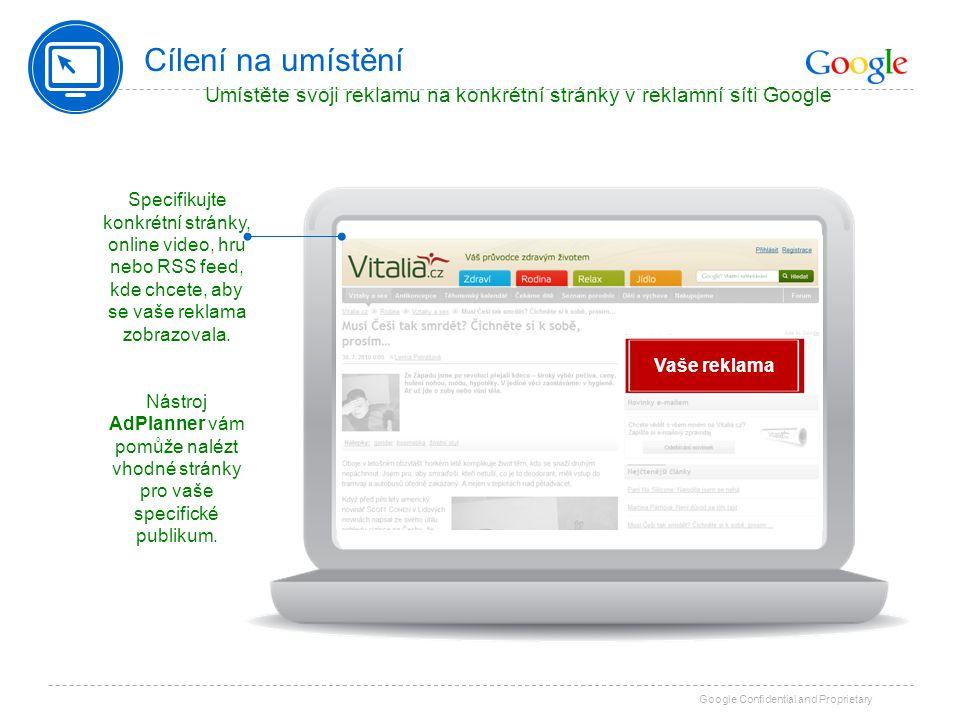 Umístěte svoji reklamu na konkrétní stránky v reklamní síti Google