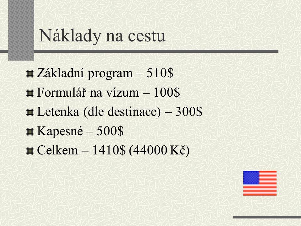 Náklady na cestu Základní program – 510$ Formulář na vízum – 100$