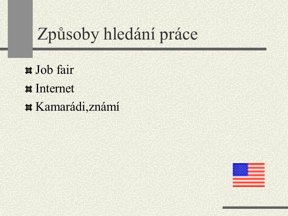 Způsoby hledání práce Job fair Internet Kamarádi,známí