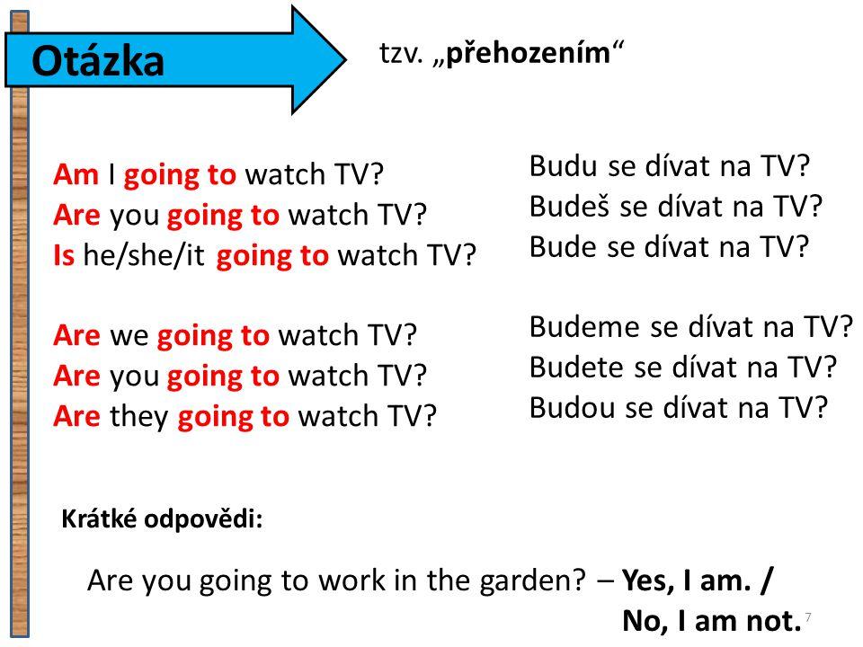 """Otázka tzv. """"přehozením Budu se dívat na TV Am I going to watch TV"""