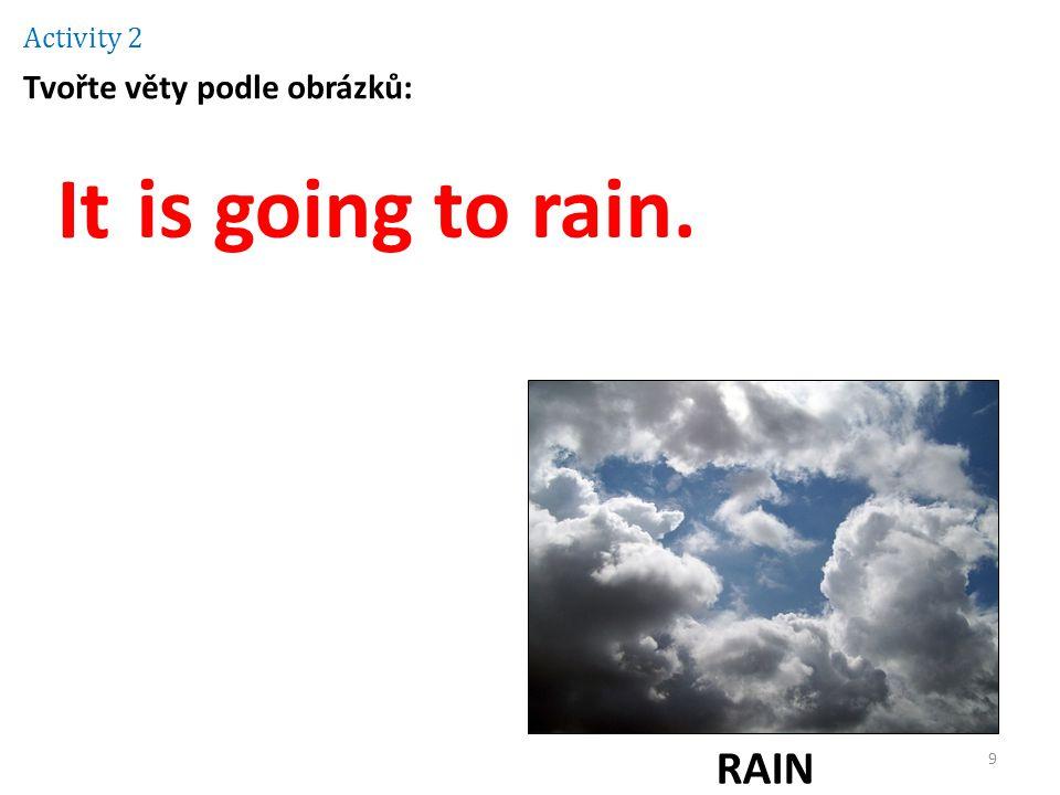 Activity 2 Tvořte věty podle obrázků: It is going to rain. RAIN