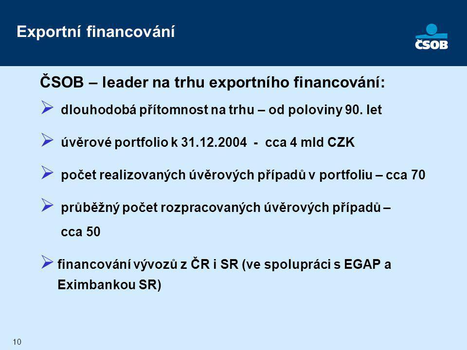 Exportní financování ČSOB – leader na trhu exportního financování: