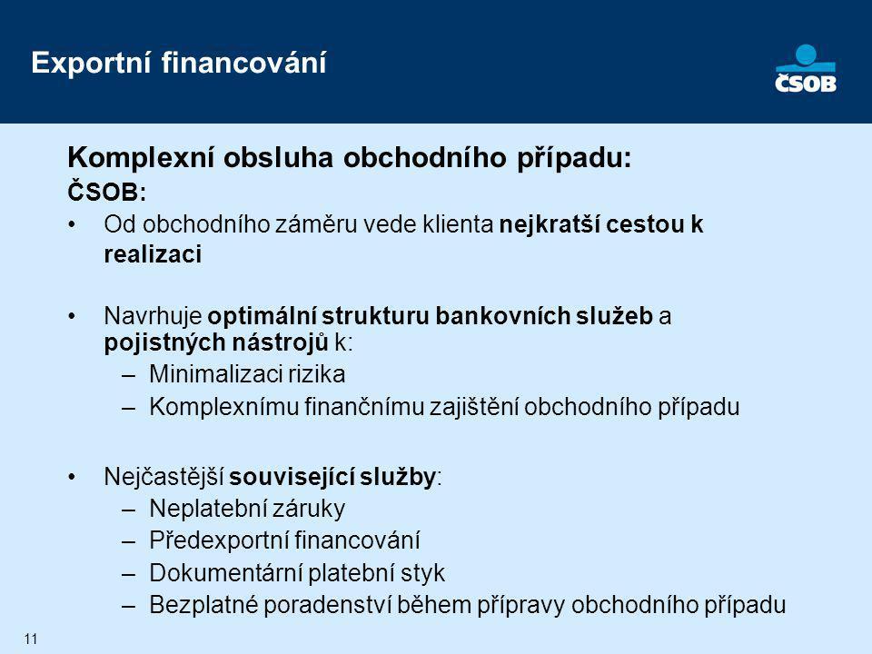 Exportní financování Komplexní obsluha obchodního případu: ČSOB: