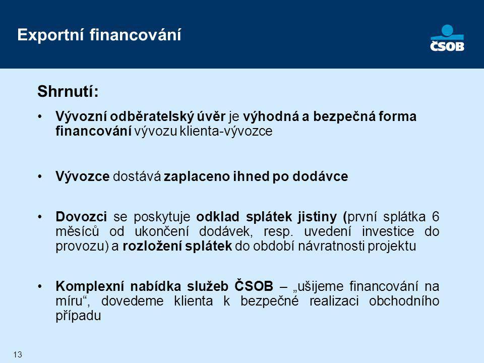 Exportní financování Shrnutí: