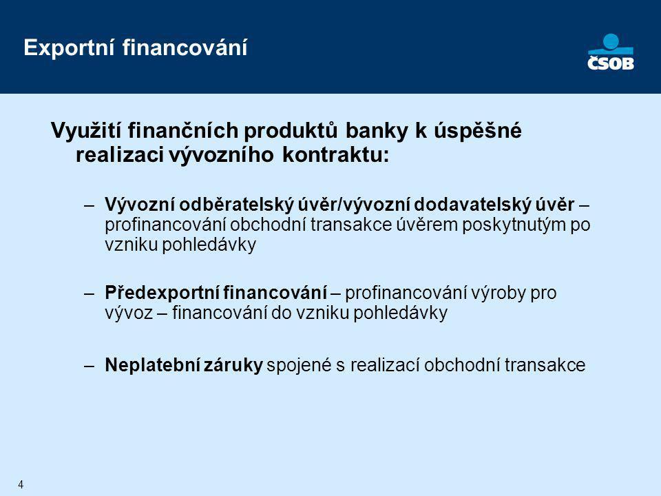 Exportní financování Využití finančních produktů banky k úspěšné realizaci vývozního kontraktu: