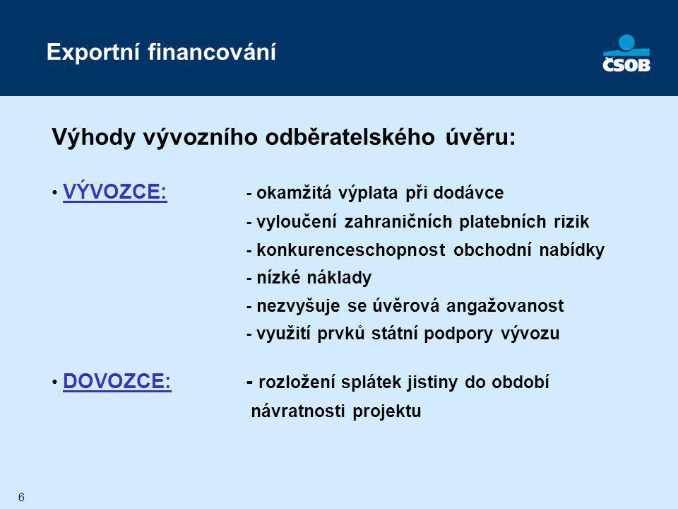 Výhody vývozního odběratelského úvěru: