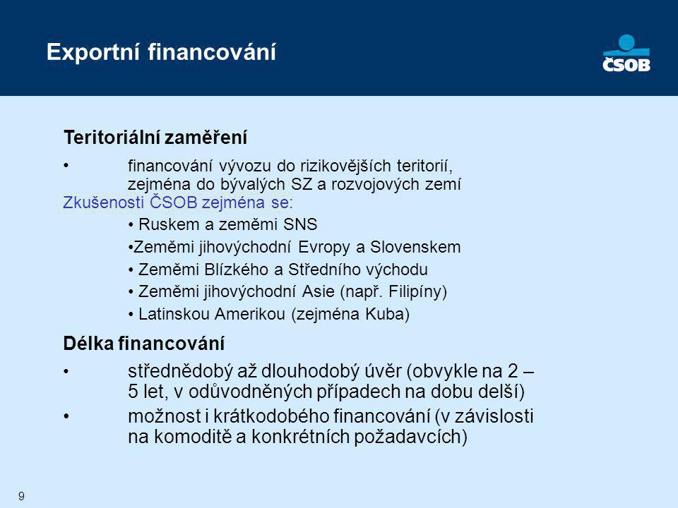 Exportní financování Teritoriální zaměření Délka financování