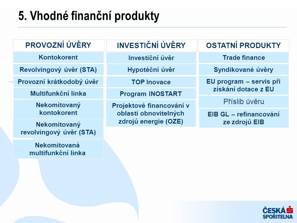 5. Vhodné finanční produkty