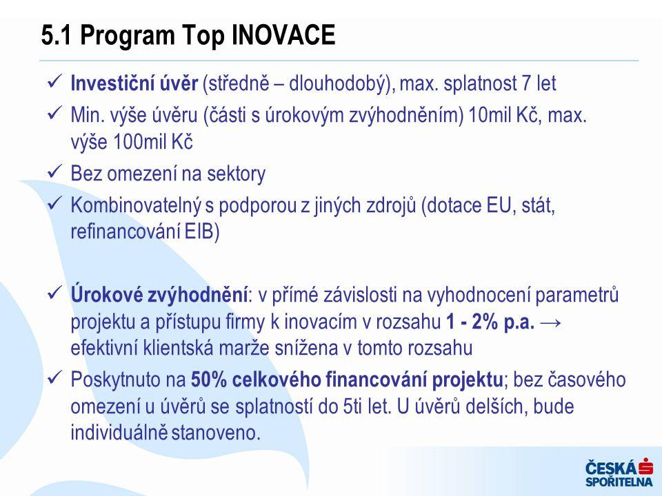 5.1 Program Top INOVACE Investiční úvěr (středně – dlouhodobý), max. splatnost 7 let.