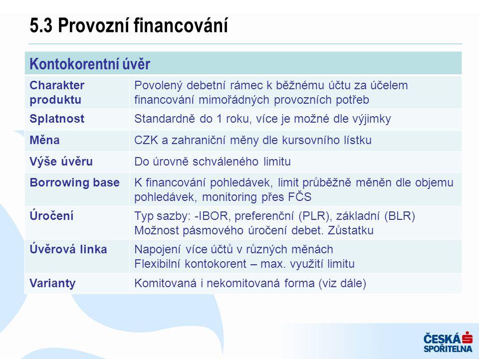 5.3 Provozní financování Kontokorentní úvěr Charakter produktu