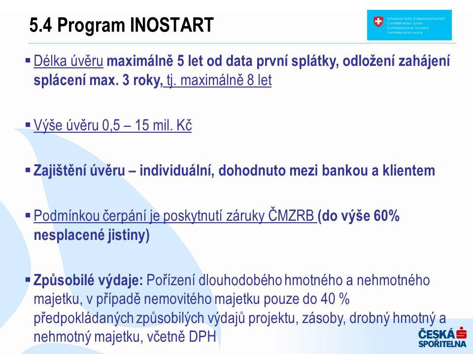 5.4 Program INOSTART Délka úvěru maximálně 5 let od data první splátky, odložení zahájení splácení max. 3 roky, tj. maximálně 8 let.