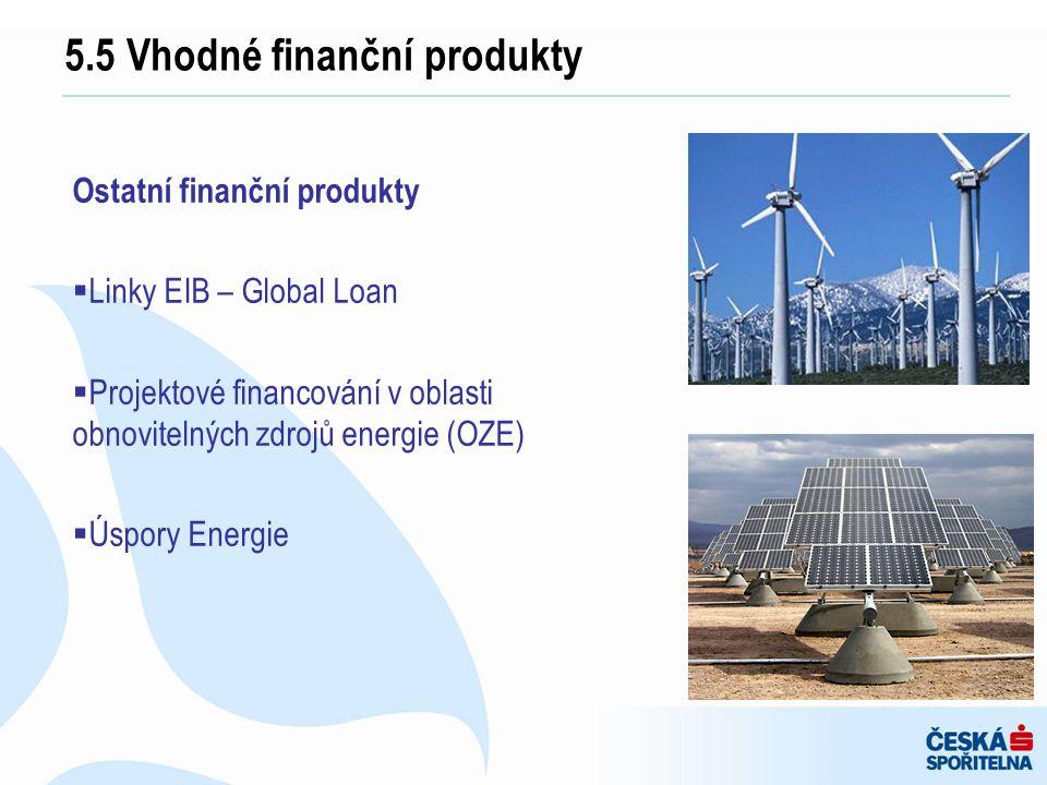 5.5 Vhodné finanční produkty