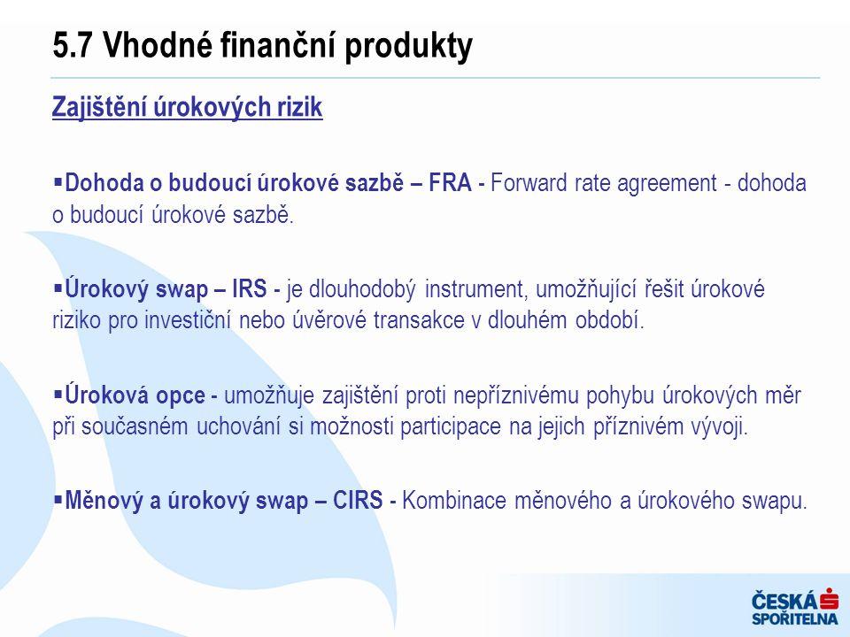 5.7 Vhodné finanční produkty