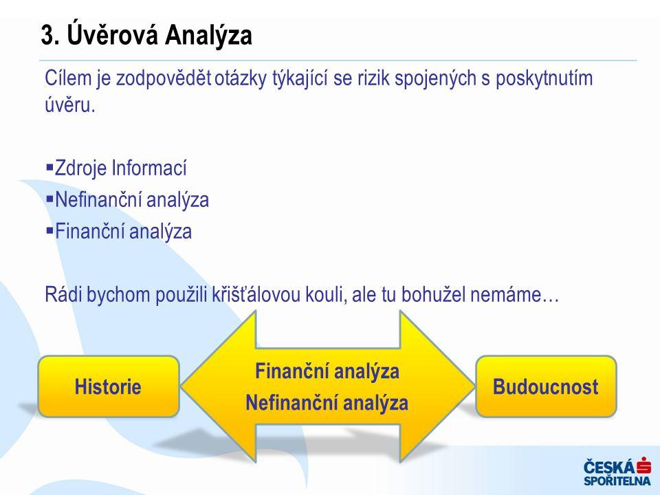 3. Úvěrová Analýza Cílem je zodpovědět otázky týkající se rizik spojených s poskytnutím úvěru. Zdroje Informací.