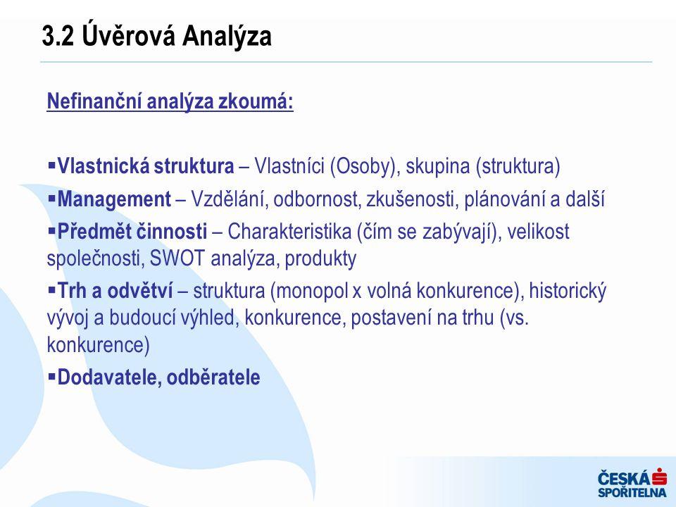 3.2 Úvěrová Analýza Nefinanční analýza zkoumá: