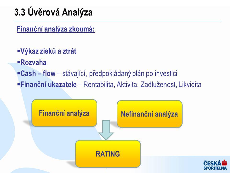 3.3 Úvěrová Analýza Finanční analýza zkoumá: Výkaz zisků a ztrát