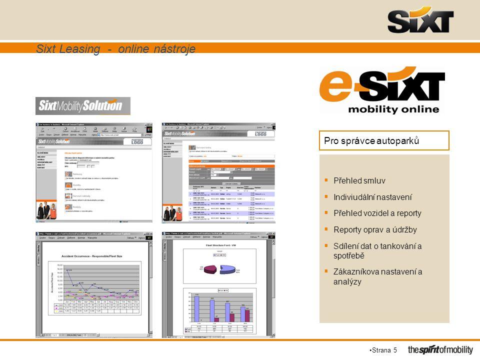 Sixt Leasing - online nástroje