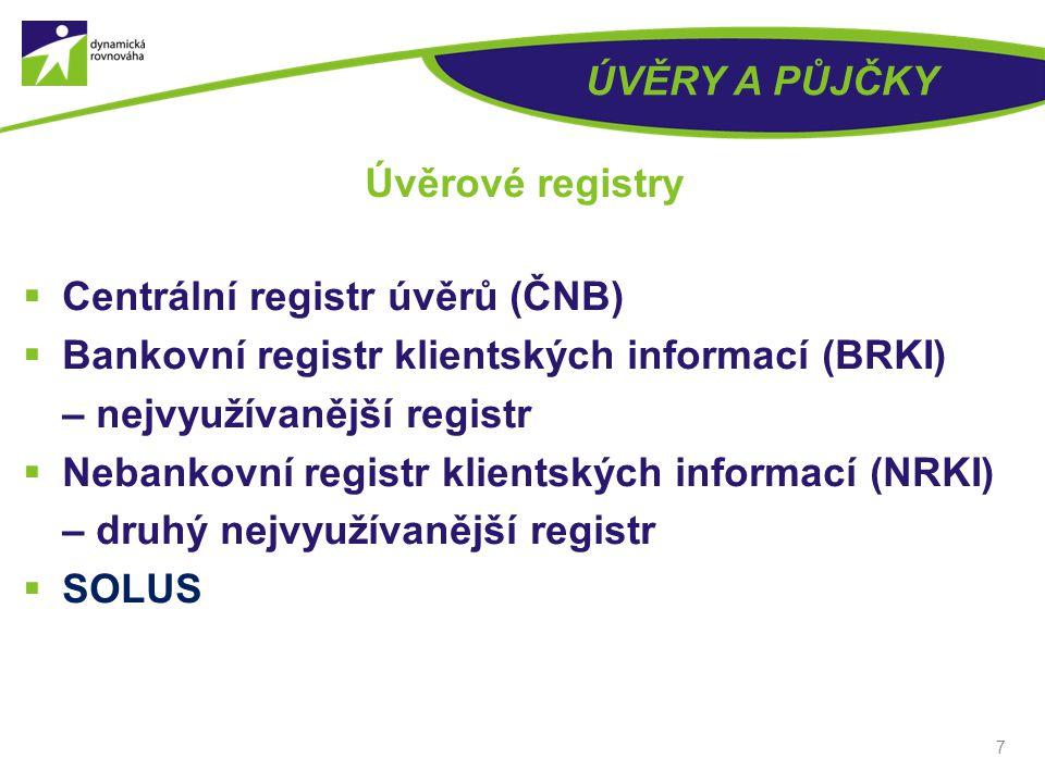 ÚVĚRY A PŮJČKY Úvěrové registry. Centrální registr úvěrů (ČNB) Bankovní registr klientských informací (BRKI) – nejvyužívanější registr.